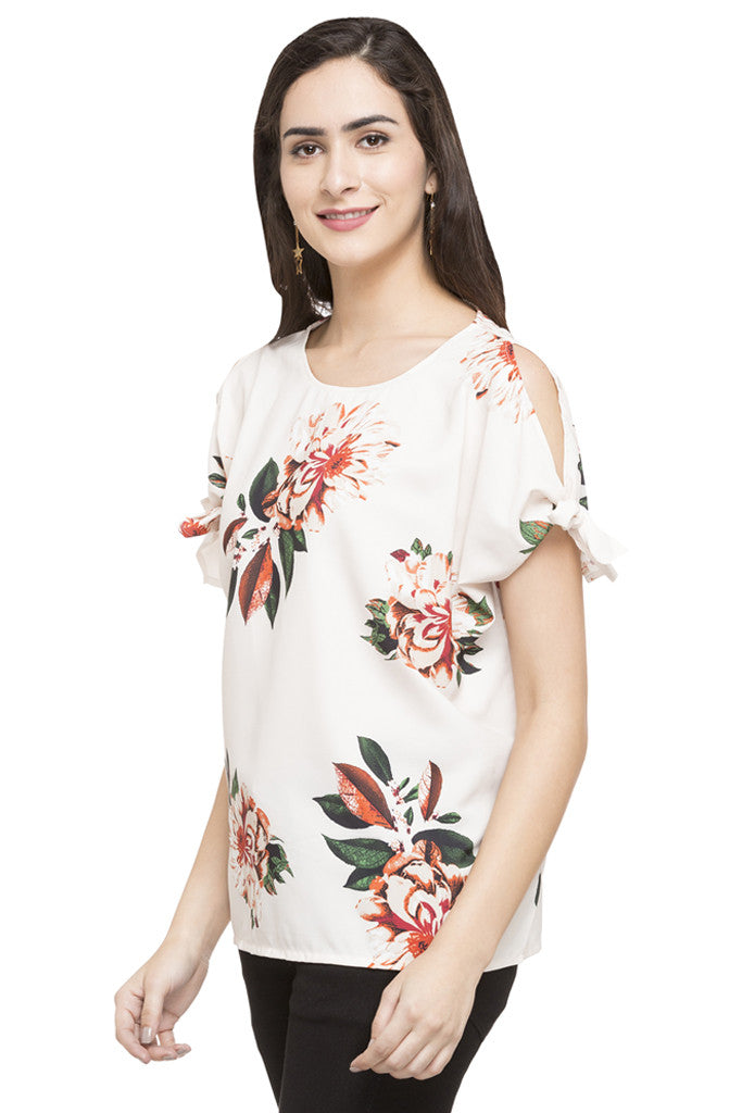 Cold Shoulder Tie Up Floral Print Top-5