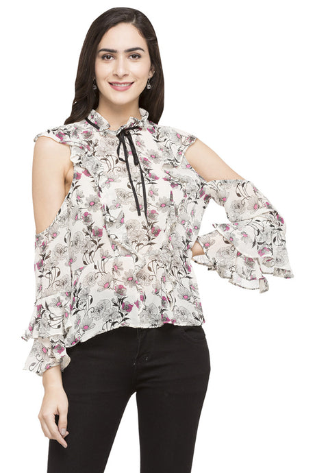 Floral Print Ruffled Top-1
