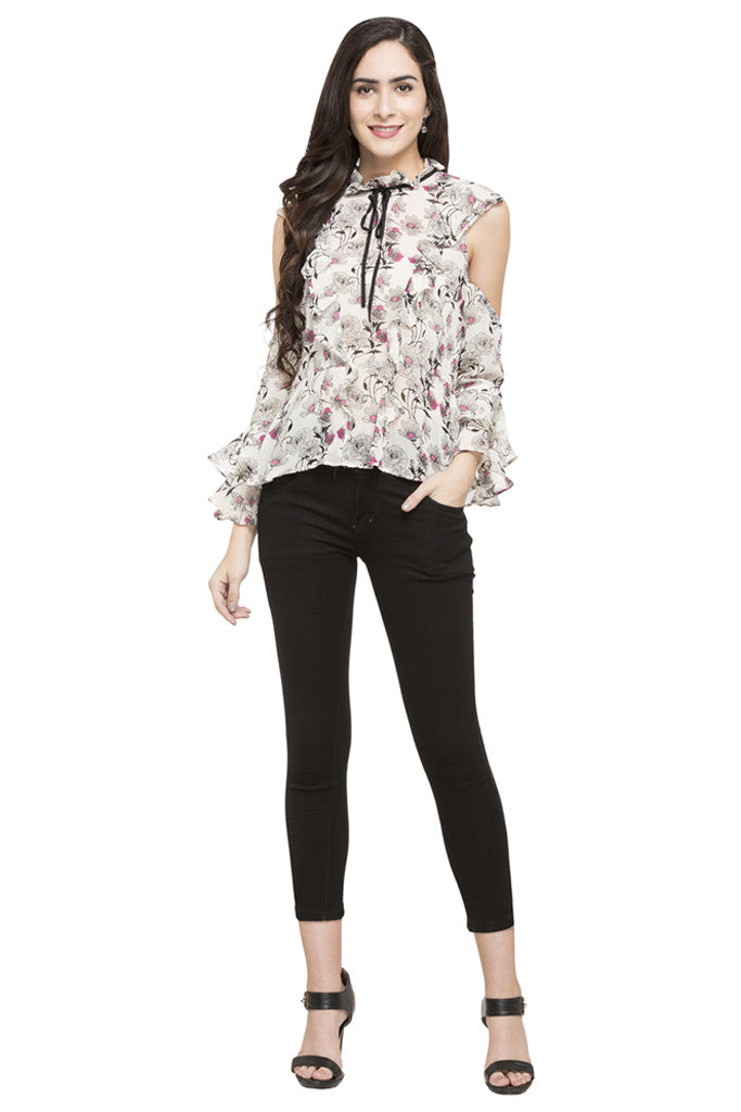 Floral Print Ruffled Top-2