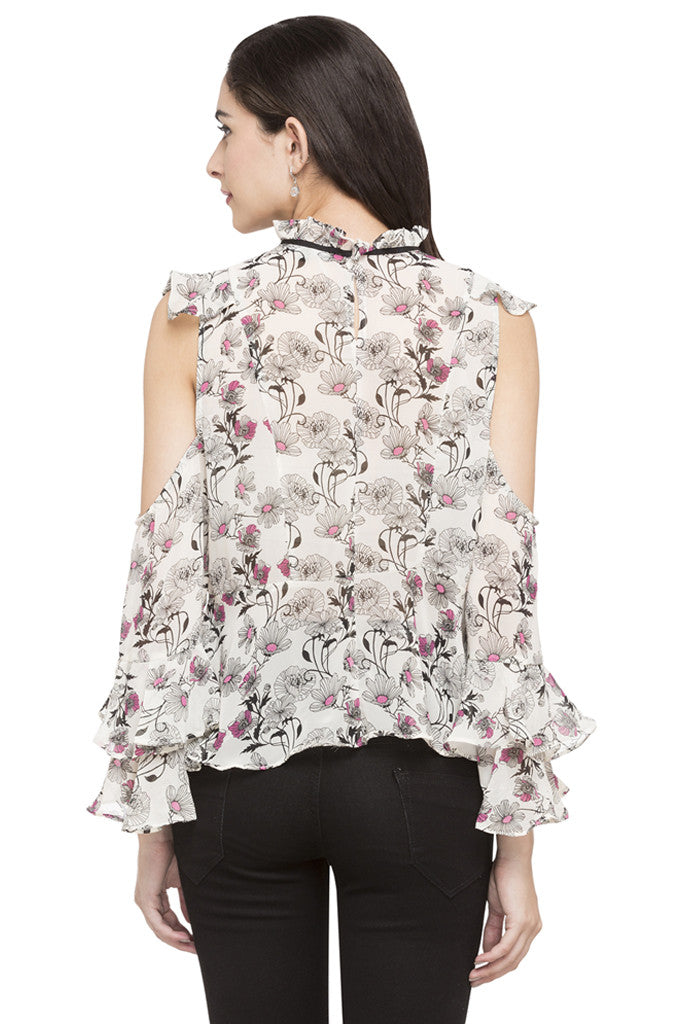 Floral Print Ruffled Top-3