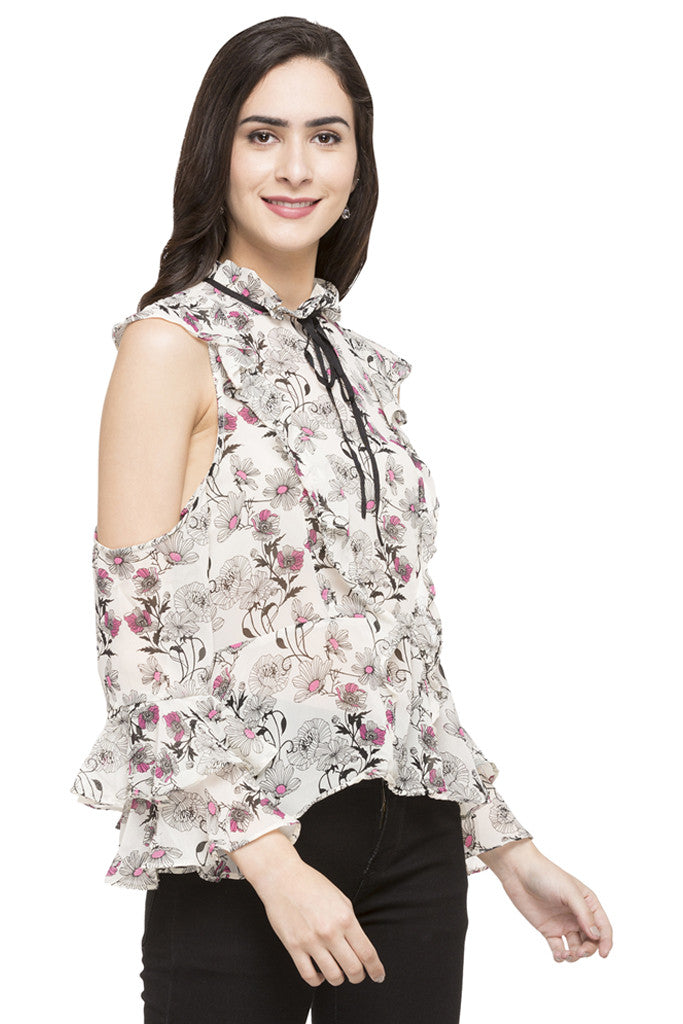 Floral Print Ruffled Top-4