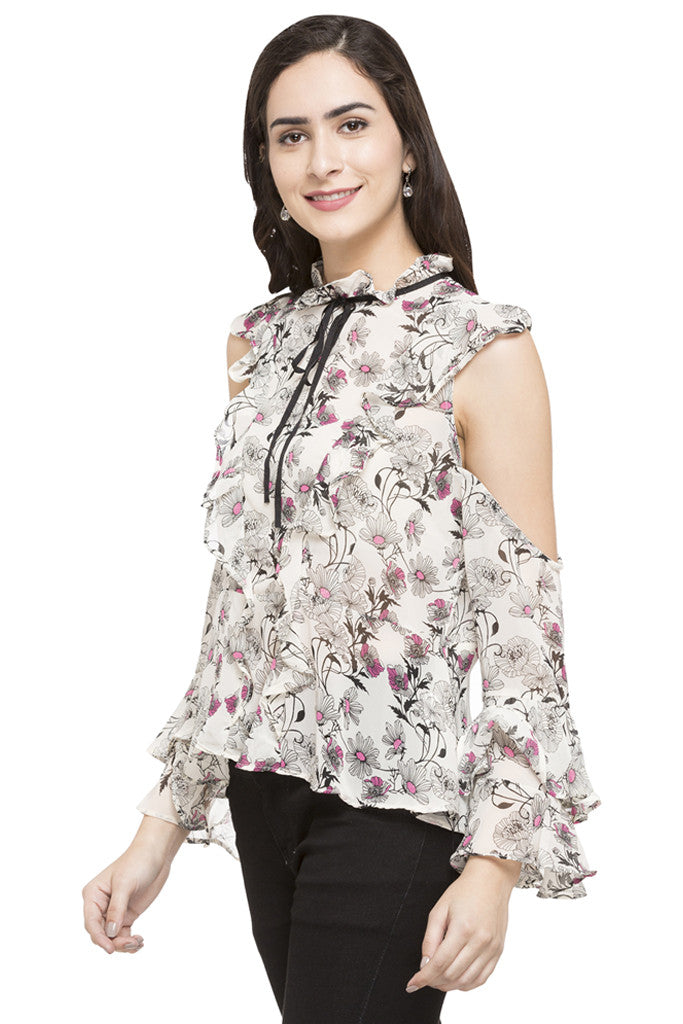 Floral Print Ruffled Top-5