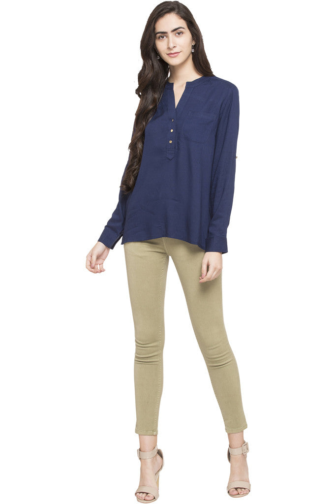 Y-neck Solid Tunic-5