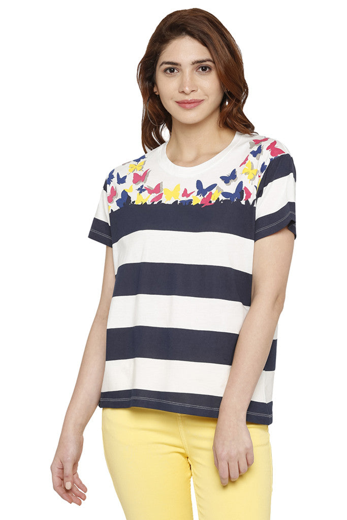 Striped Butterfly Print T-shirt-1