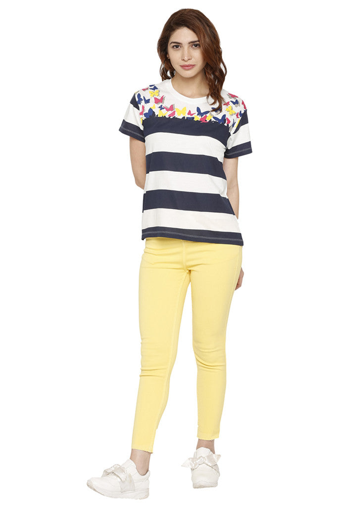 Striped Butterfly Print T-shirt-2