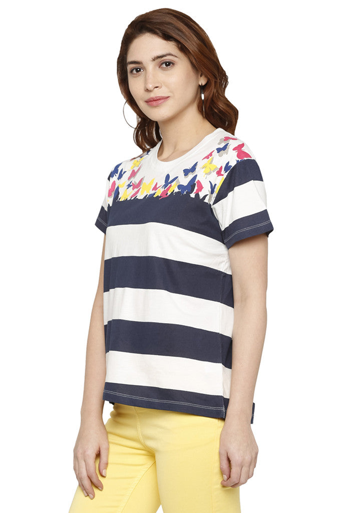 Striped Butterfly Print T-shirt-4