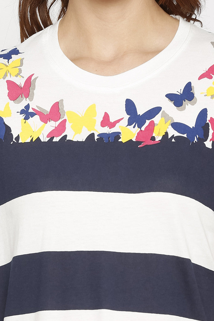 Striped Butterfly Print T-shirt-5