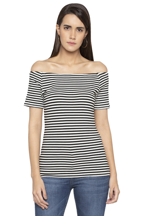 Off Shoulder Striped Top-1