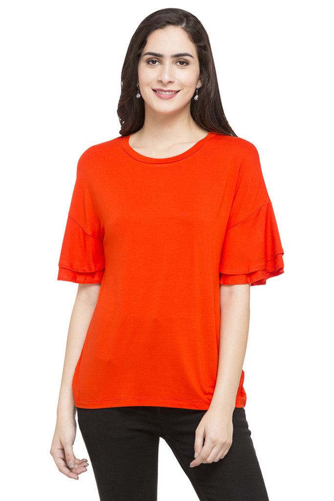 Layered Sleeve Solid Top-1