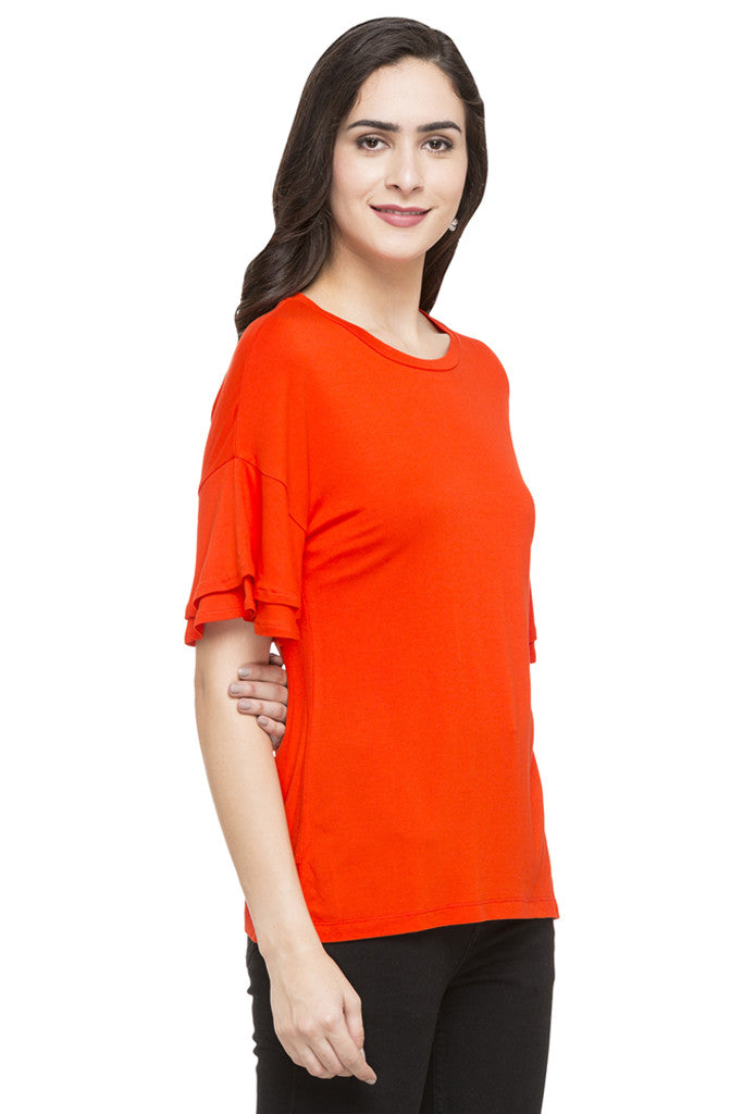 Layered Sleeve Solid Top-4