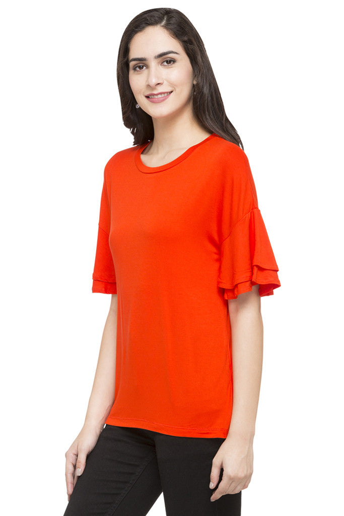 Layered Sleeve Solid Top-5