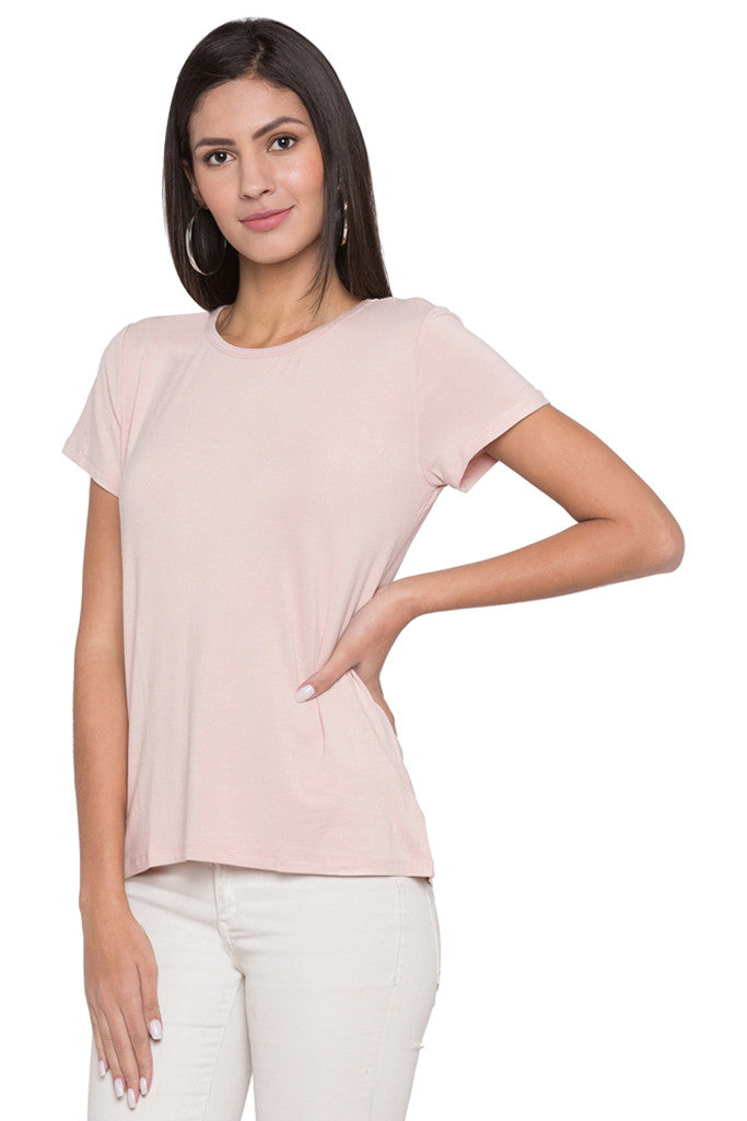 Solid Round Necked T-shirt-4