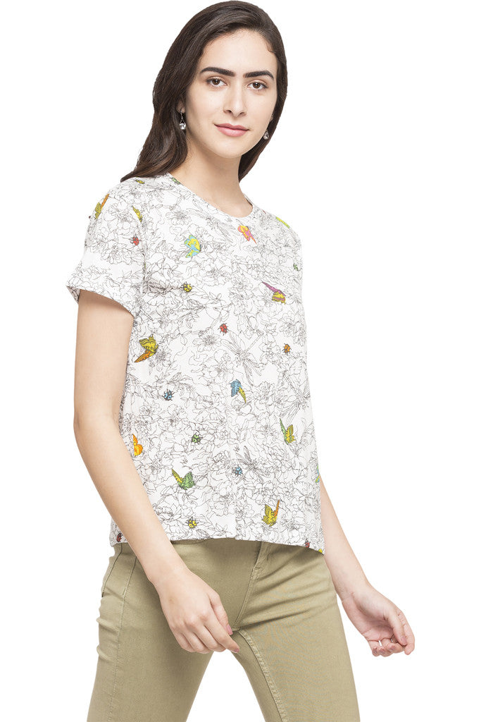 Butterfly Print Top-4