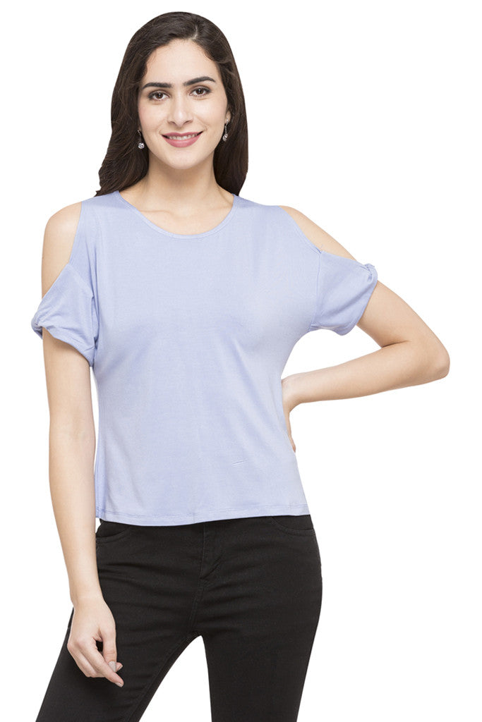 Solid Cold Shoulder Top-1