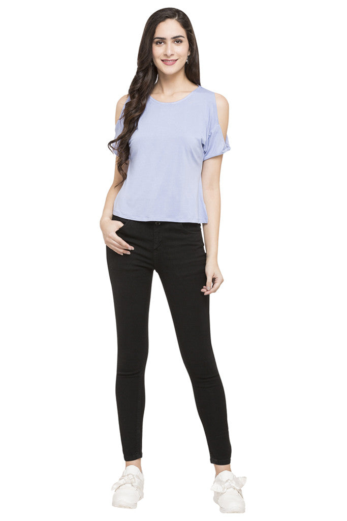 Solid Cold Shoulder Top-2