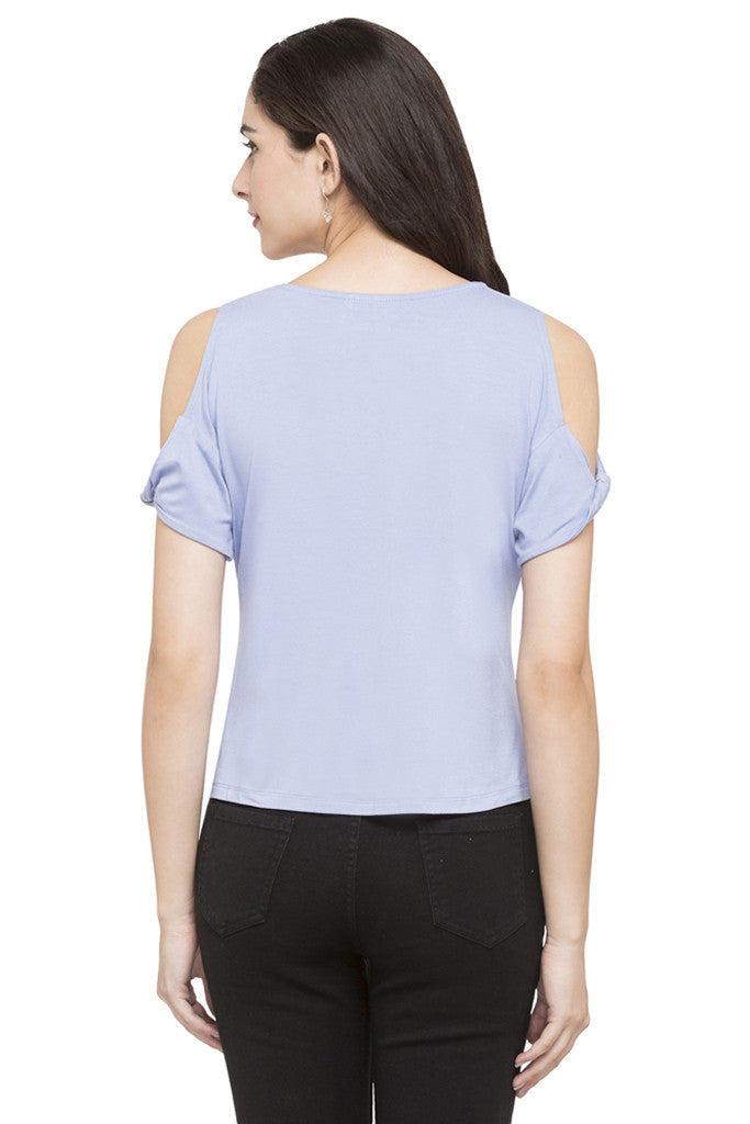 Solid Cold Shoulder Top-3