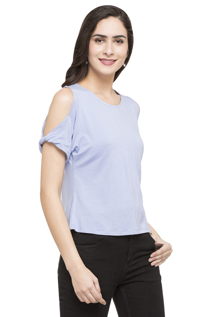 Solid Cold Shoulder Top-4