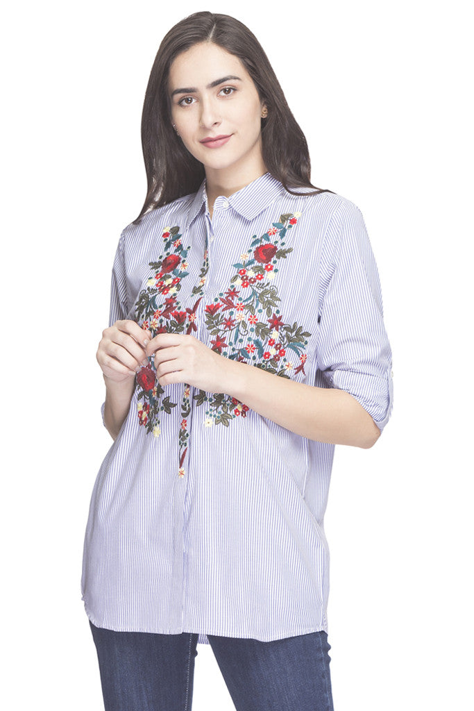 Pin Stripe Embroidered Shirt Top-1