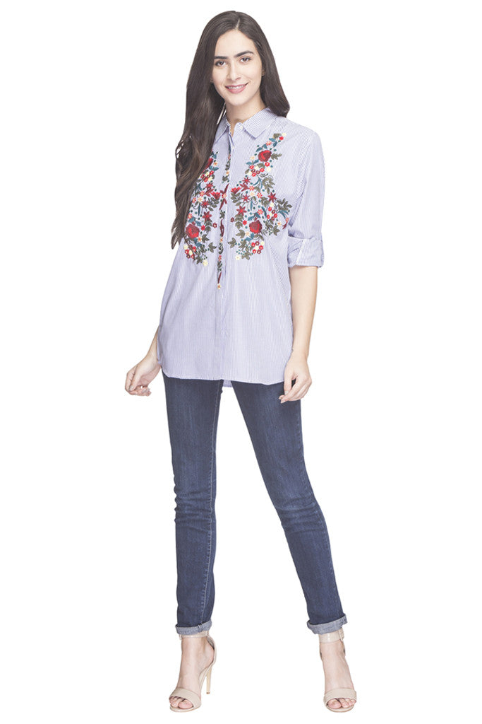 Pin Stripe Embroidered Shirt Top-2