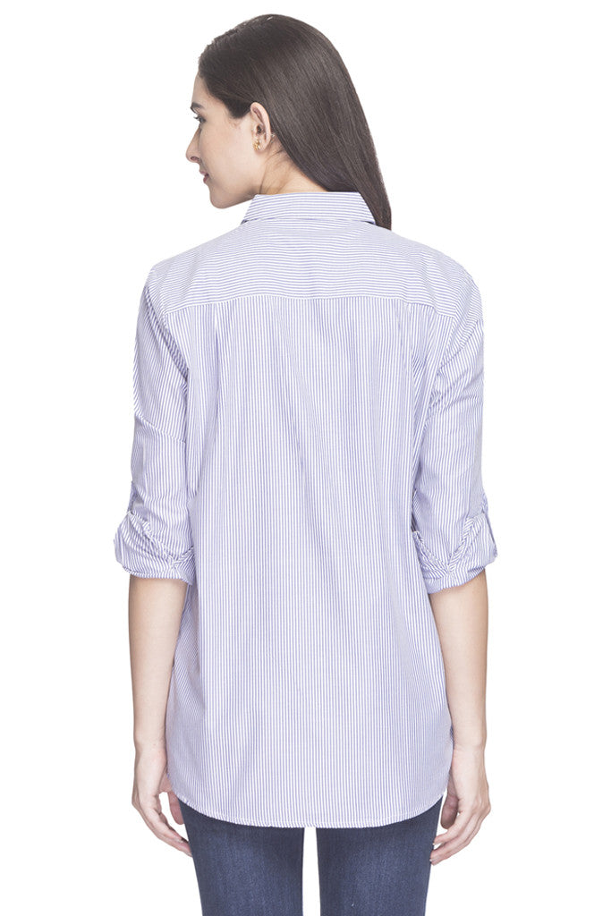 Pin Stripe Embroidered Shirt Top-3