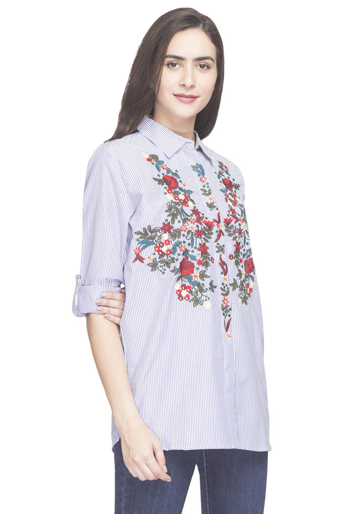 Pin Stripe Embroidered Shirt Top-4