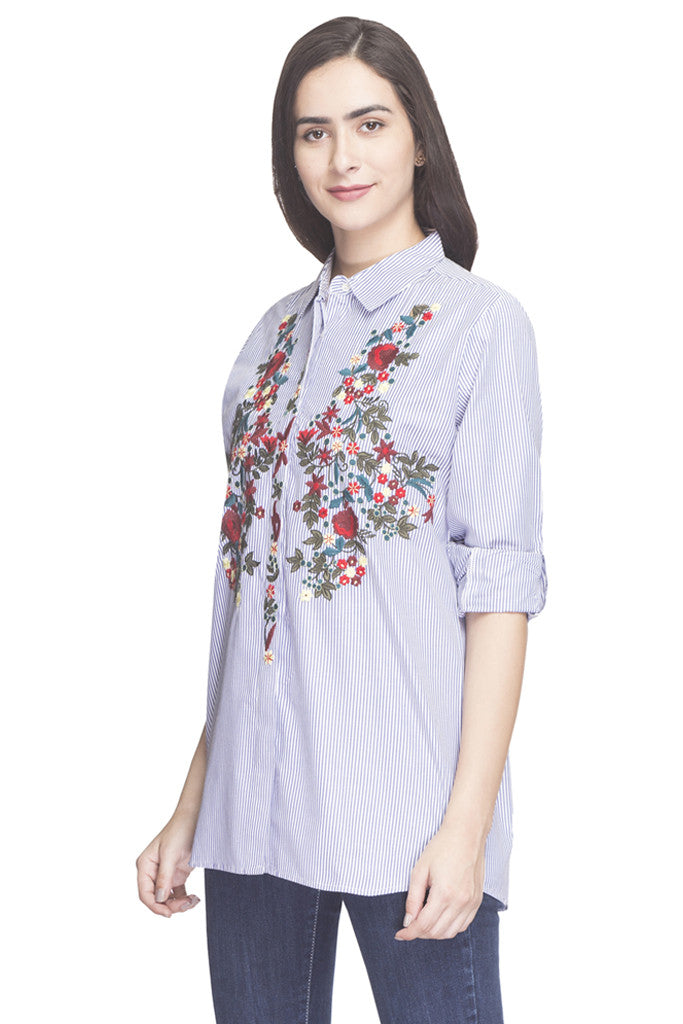 Pin Stripe Embroidered Shirt Top-5
