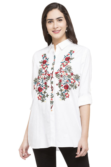 Floral Embroidered Motif Shirt-1