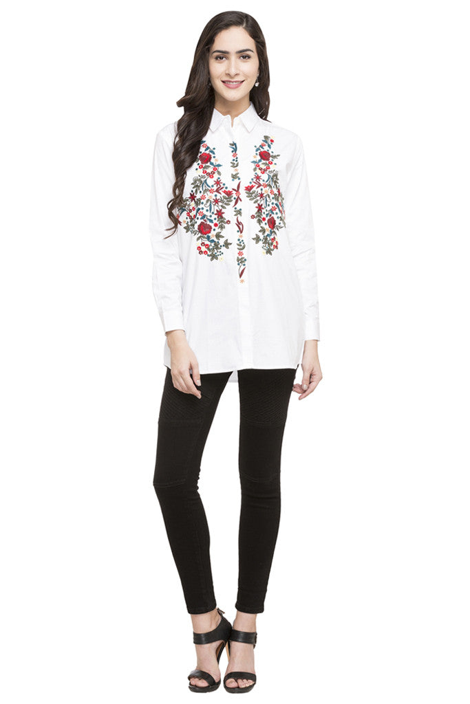 Floral Embroidered Motif Shirt-2