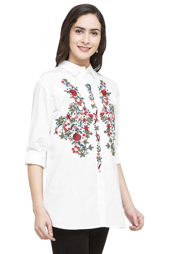 Floral Embroidered Motif Shirt-4