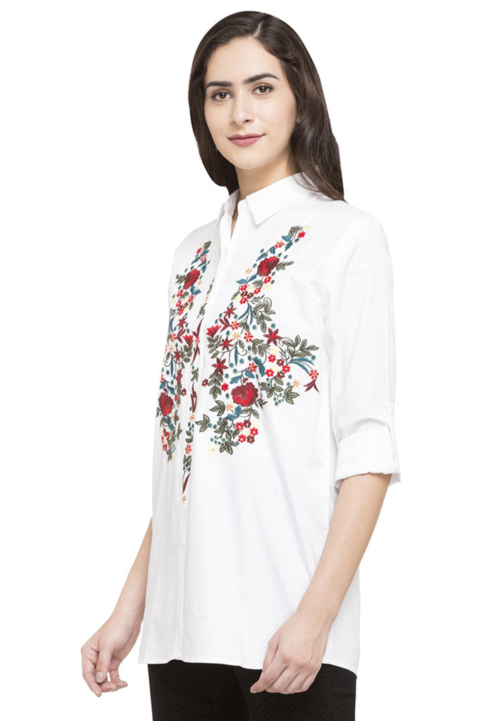 Floral Embroidered Motif Shirt-5