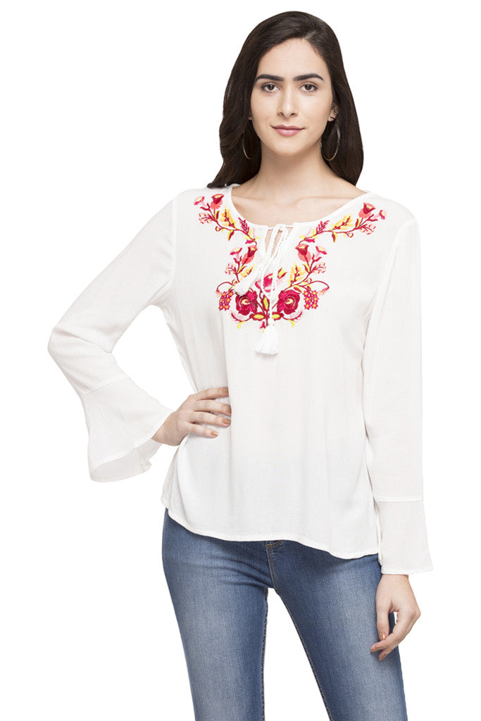 Embroidered Peasant Top-1