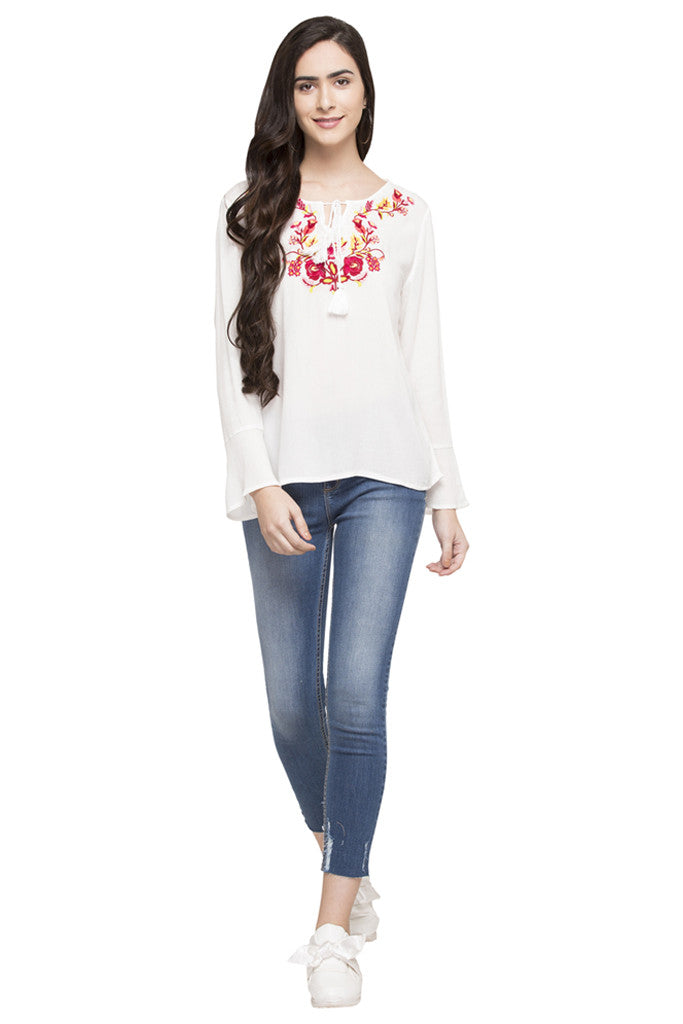 Embroidered Peasant Top-2
