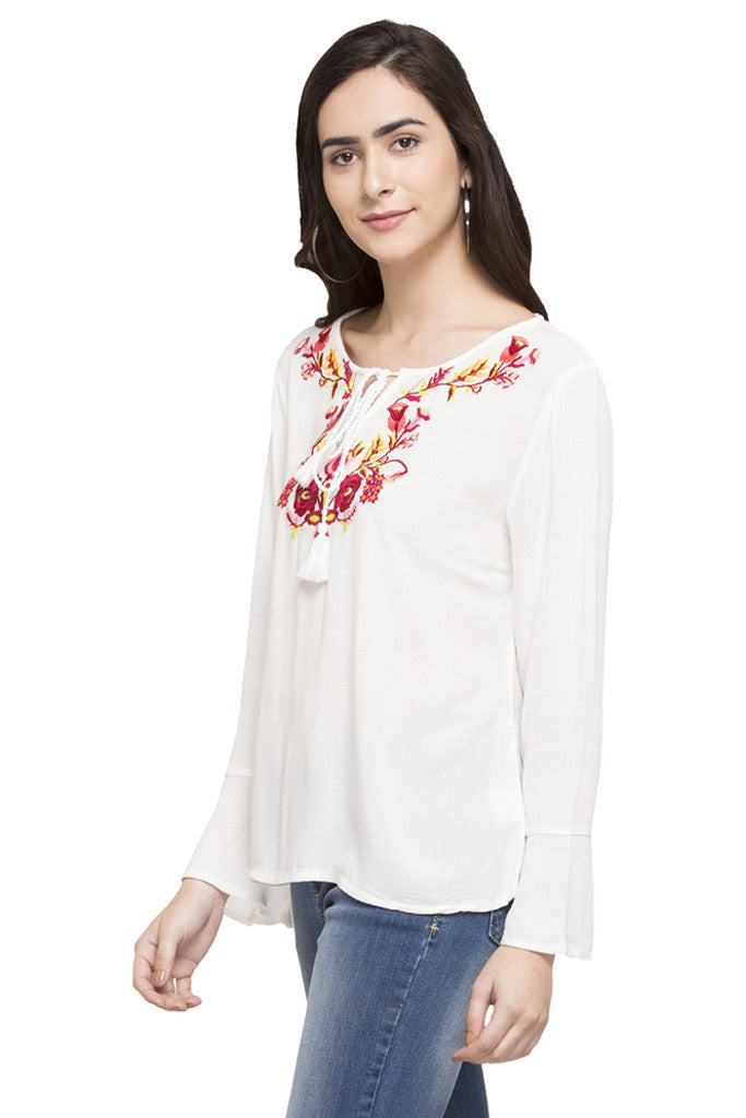 Embroidered Peasant Top-5
