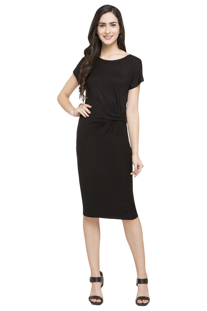 Mock Waist Drape Solid Dress-1