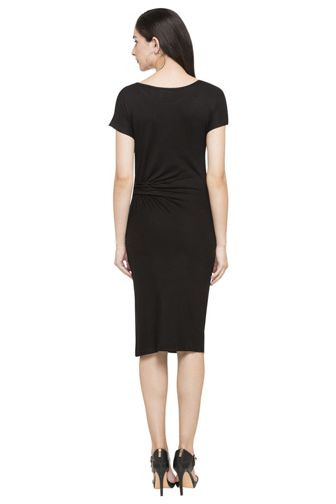 Mock Waist Drape Solid Dress-3
