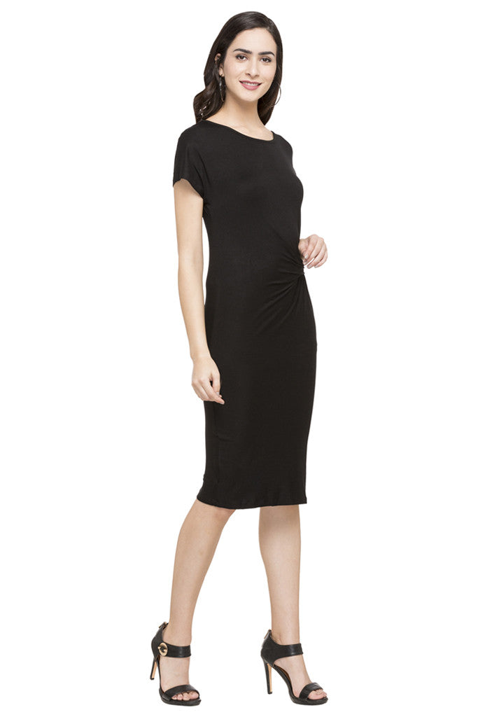 Mock Waist Drape Solid Dress-4