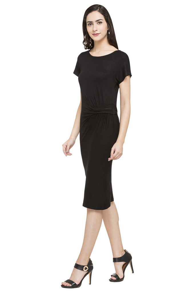 Mock Waist Drape Solid Dress-5