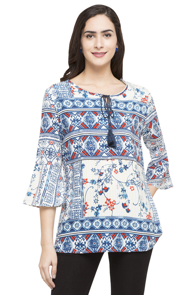 Printed Bell Sleeve Top-1