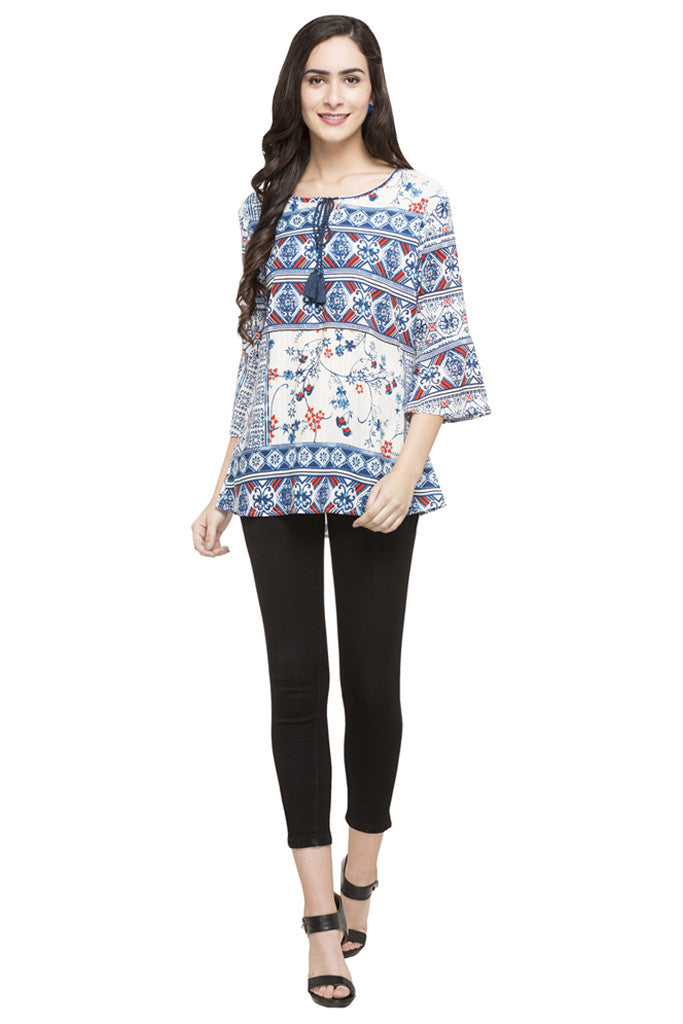 Printed Bell Sleeve Top-2
