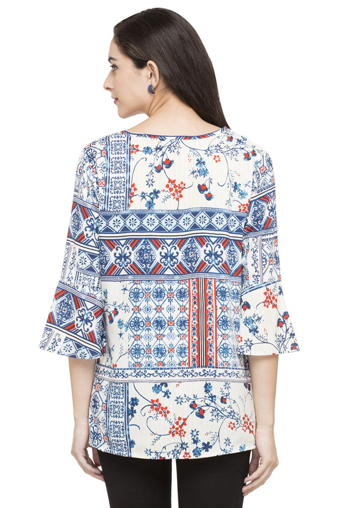 Printed Bell Sleeve Top-3