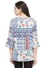 Load image into Gallery viewer, Printed Bell Sleeve Top-3