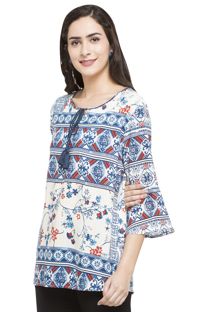 Printed Bell Sleeve Top-5
