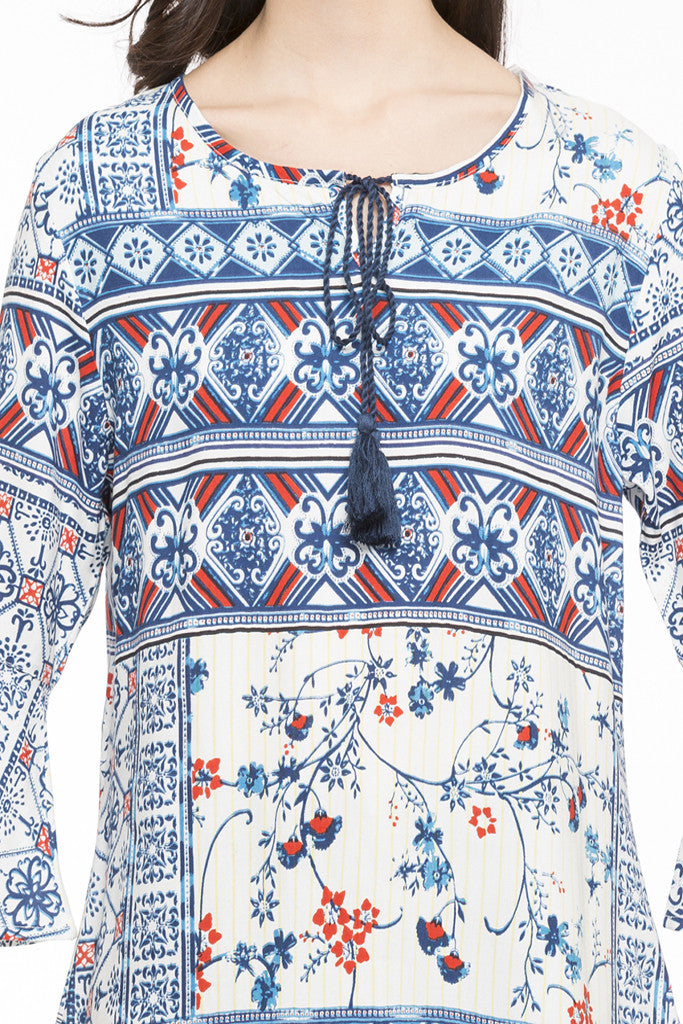 Printed Bell Sleeve Top-6