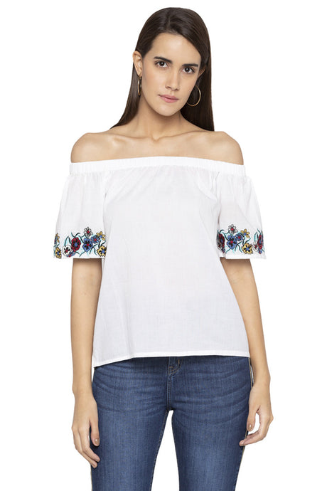 Floral Embroidery Off Shoulder Top-1