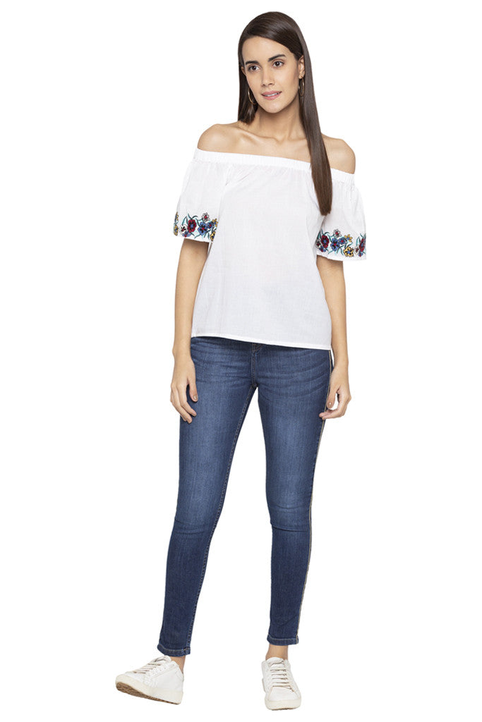 Floral Embroidery Off Shoulder Top-2