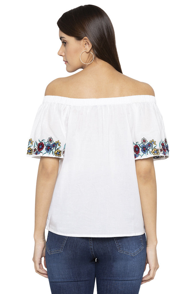 Floral Embroidery Off Shoulder Top-3