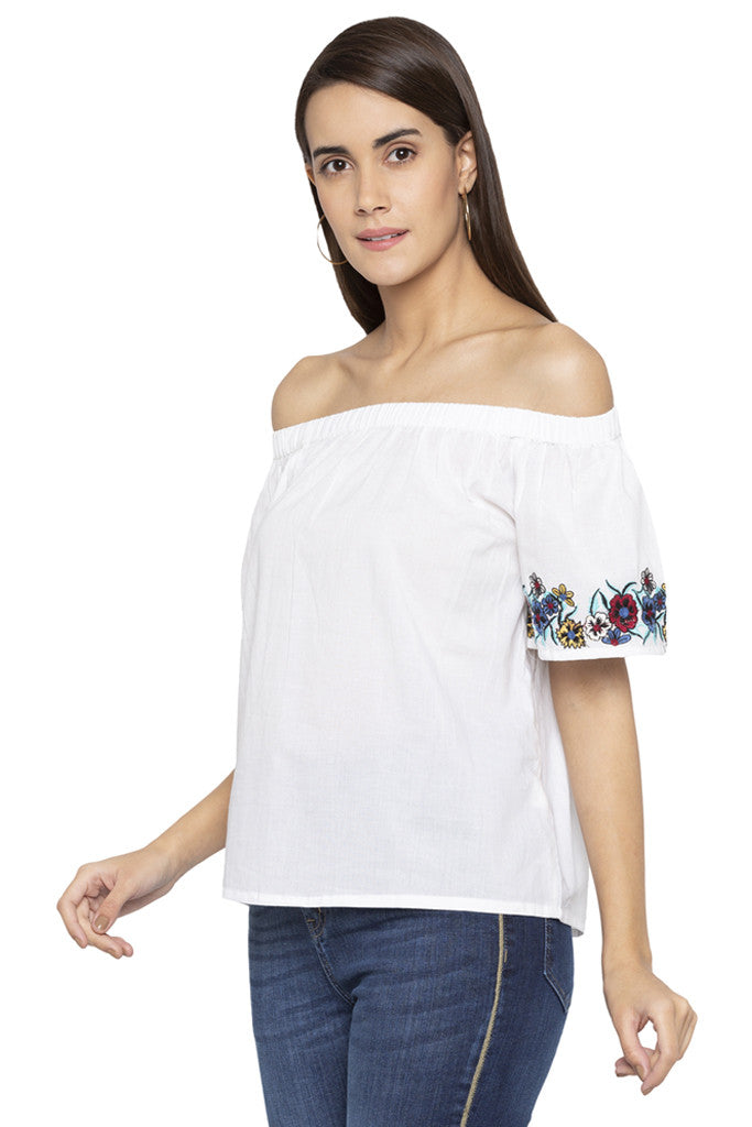 Floral Embroidery Off Shoulder Top-4