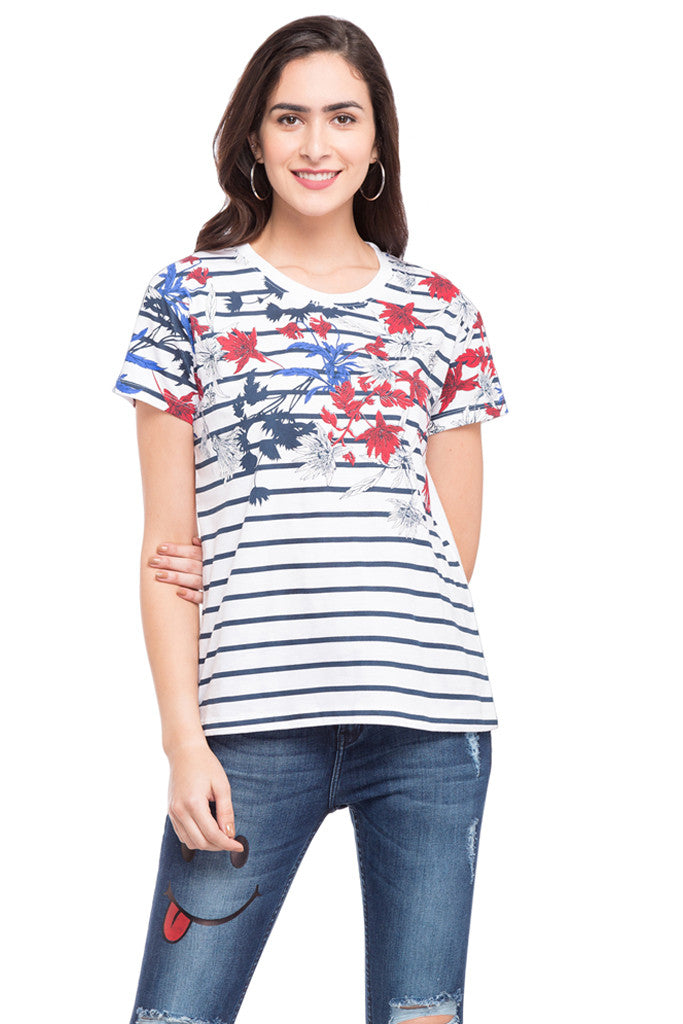 Striped Floral Print T-shirt-1