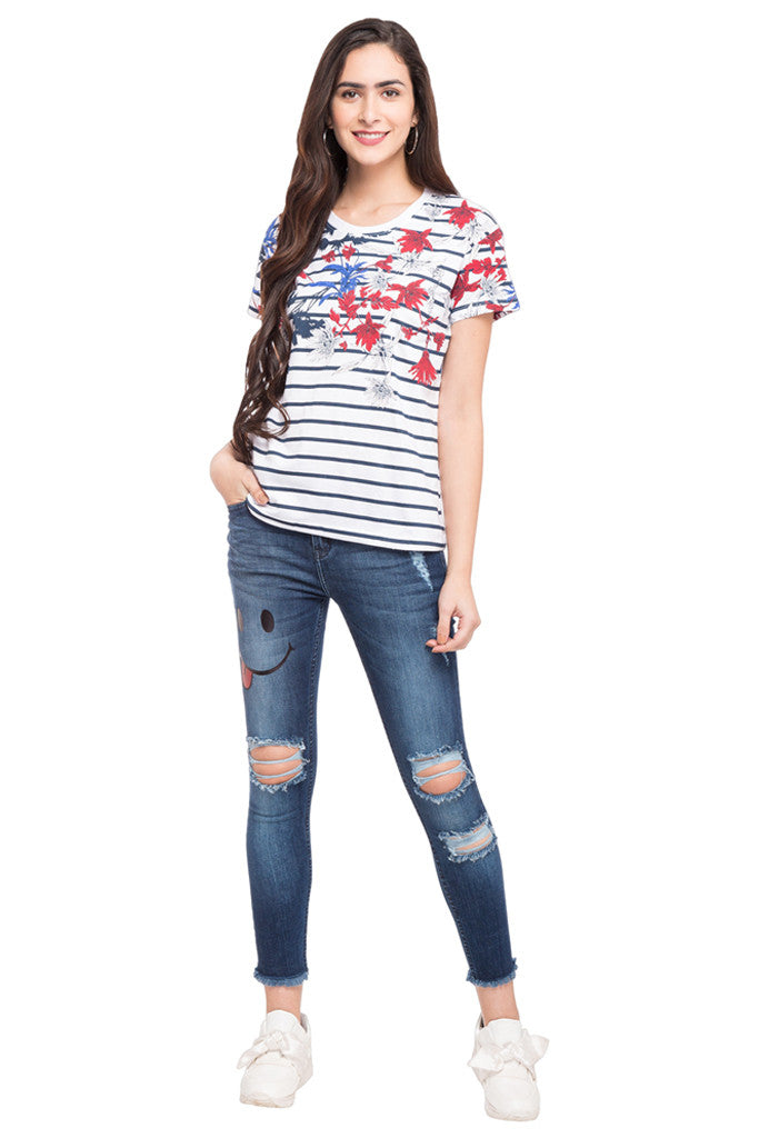 Striped Floral Print T-shirt-2