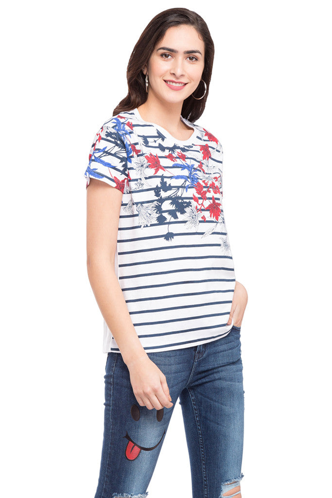Striped Floral Print T-shirt-4